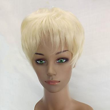 Peruki syntetyczne Kędzierzawy Fryzura Pixie Gęstość Bez czepka Damskie Biały Celebrity Wig Peruka naturalna Krótki Włosy syntetyczne