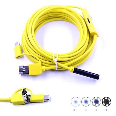 voordelige Microscopen & Endoscopen-3 in 1 7mm usb endoscoop 5 m kabel 6 led waterdichte ip67 inspectie borescop camera snake video cam voor android pc