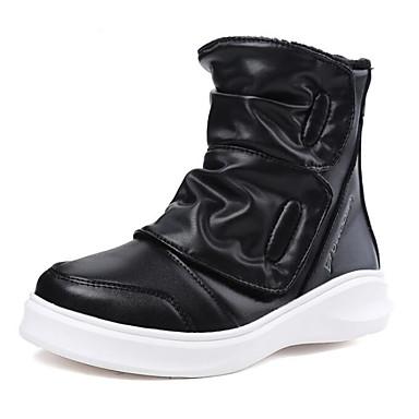 Jungen Schuhe Leder Herbst Winter Komfort Stiefel Für Normal Schwarz Rot