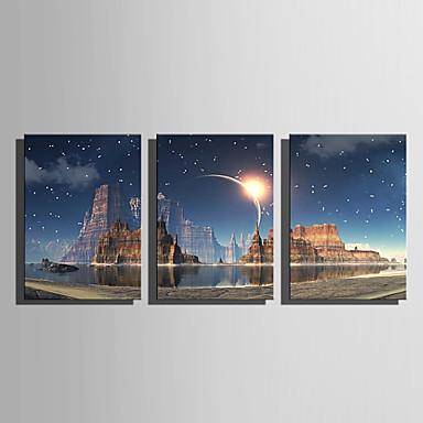 LED Kanvas Sanat Manzara Üç Panelli Boyama Duvar Dekor Ev dekorasyonu
