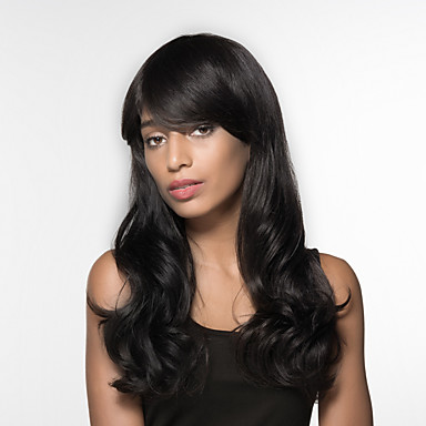 Ludzkie Włosy Capless Peruki Włosy naturalne Falisty Część Boczna Długo Tkany maszynowo Peruka Damskie
