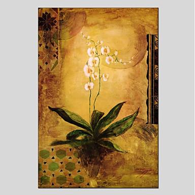 Hang-Malowane obraz olejny Ręcznie malowane - Kwiatowy / Roślinny Nowoczesny Płótno / Rozciągnięte płótno