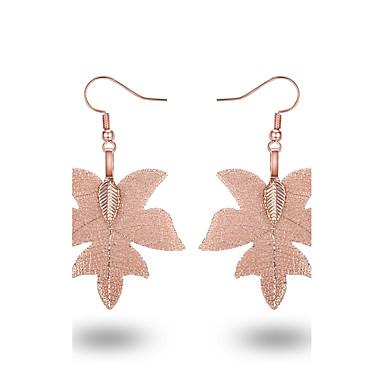 Damen Tropfen-Ohrringe - Blattform Metallisch, Einfach Gold / Schwarz / Rose Für Alltag / Verabredung