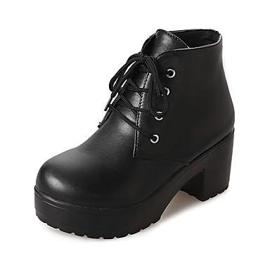 Invierno redondo de Combate Mitad Gemelo 06354609 Mujer Negro Dedo Botas Botas Zapatos Blanco de PU 4vE8qZ