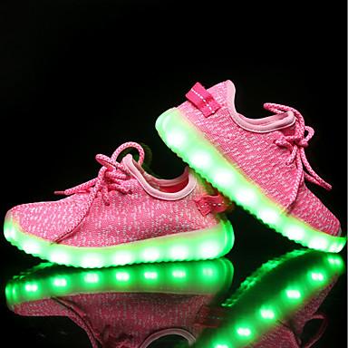 Mädchen Schuhe Gestrickt Frühling Herbst Leuchtende LED-Schuhe Sportschuhe LED Für Normal Schwarz Grau Blau Rosa
