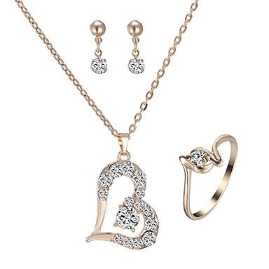 Damskie Biżuteria Ustaw - Imitacja diamentu Serce Klasyczny, Modny Zawierać Kolczyki wiszące / Naszyjnik Złoty Na Codzienny / Náušnice
