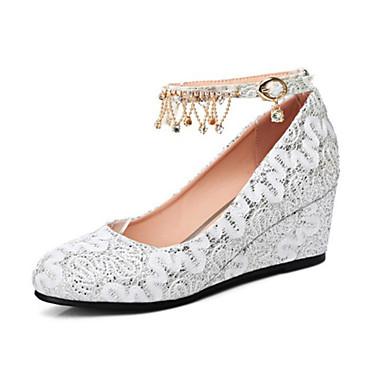 Chaussures Dentelle Printemps Talons Femme à compensée Chaussures Bout 06450858 Nouveauté de Hauteur Polyuréthane Confort Automne semelle Tan0xRn