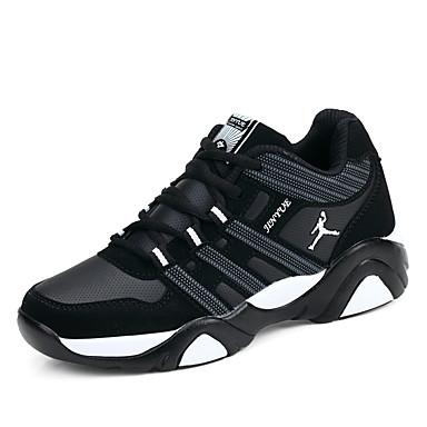Homens Sapatos Confortáveis Tule Primavera / Outono Tênis Caminhada Preto / Preto e Azul / Preto / Vermelho / Cadarço