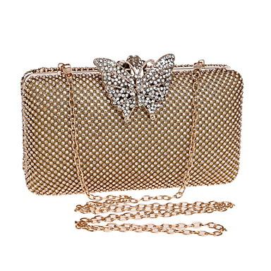 billige Vesker-Dame Krystalldetaljer Metall Aftenveske Rhinestone Crystal Evening Bags Gull / Sølv