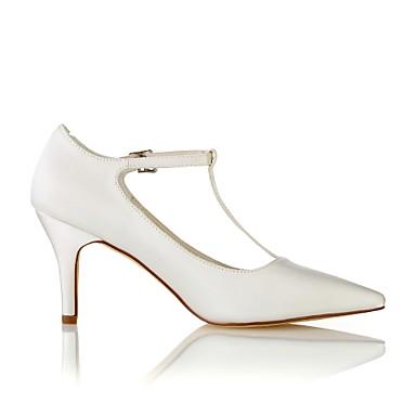 Elastique pointu Printemps Femme Blanc 06438405 Aiguille de Boucle Chaussures Basique Chaussures Automne Escarpin mariage Talon Bout Satin xwOHFOnT