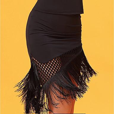 Latin Dance Bottoms Women's Performance Ice Silk Tassel Sleeveless Natural Skirts