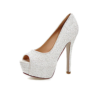 Damen Schuhe Kunstleder Sommer Herbst Komfort Neuheit High Heels Stöckelabsatz Peep Toe für Normal Kleid Party & Festivität Gold Weiß