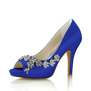 Χαμηλού Κόστους Γυναικεία παπούτσια γάμου-Γυναικεία Γαμήλια παπούτσια Τακούνι Στιλέτο Ανοικτή Μύτη Κρυσταλλάκια Ελαστικό ύφασμα Βασική Γόβα Άνοιξη / Καλοκαίρι Βαθυγάλαζο / Ανοικτό Καφέ / Κρύσταλλο / Πάρτι & Βραδινή Έξοδος / EU42