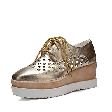 Women's Shoes Leatherette Spring Summer Fall Wedge Heel Lace-up for Casual Office & Career Dress White Black Silver Pink Golden