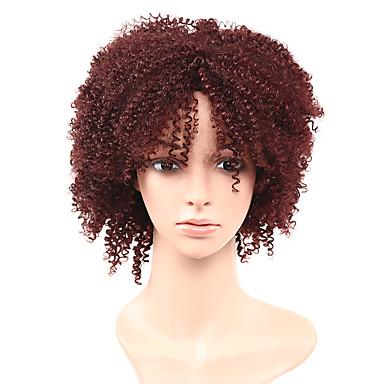 Peruki syntetyczne Kędzierzawy Kinky Curly Gęstość Bez czepka Damskie Czarny Czerwony Halloween Wig Celebrity Wig Peruka imprezowa Peruka
