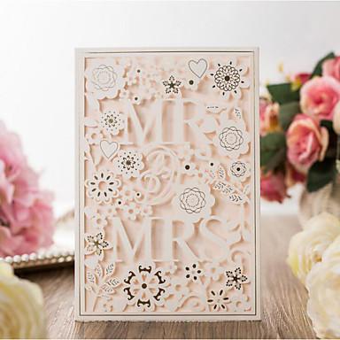 Pojedyncza Kartka Zaproszenia ślubne 20szt - Zaproszenia Styl artystyczny / Groom Bride & Style / Kwiatowy Wytłaczany papier Rozproszone Bead Floral Style Motif
