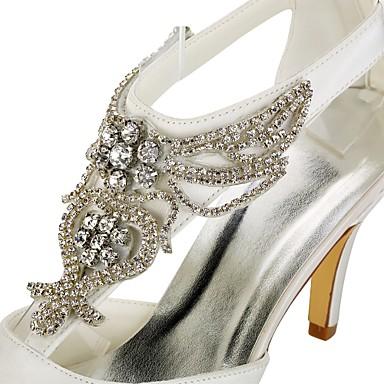 Basique Aiguille pointu Cristal Ivoire Chaussures Eté mariage 06438406 Femme Bout Talon Satin Printemps Escarpin Chaussures de Elastique O6c6qSAPY