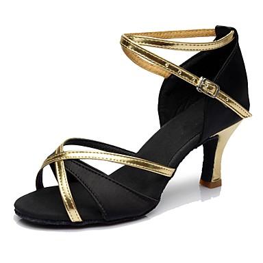baratos Sapatos de Salsa-Mulheres Sapatos de Dança Seda Sapatos de Dança Latina / Sapatos de Salsa Salto Salto Alto Personalizável Preto / Ensaio / Prática / EU39