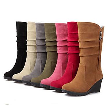 compensée semelle Nouveauté Mi Rivet Chaussures Hauteur de Hiver Automne Bottes Bout Polyuréthane mollet Bottes 06449662 pointu Femme Confort wAzvSqX