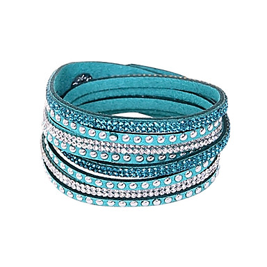 Women's Layered Bangles / Tennis Bracelet / Wrap Bracelet - Leather, Rhinestone Friends, Button Basic, European, Fashion Bracelet Green / Blue / Pink For Christmas Gifts / Party / Daily