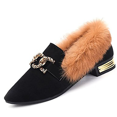 Damskie Obuwie Kaszmir Zima Comfort Mokasyny i pantofle Płaski obcas Pointed Toe Stras Black / Khaki
