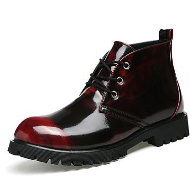 Bărbați Pantofi Nappa Leather / Imitație de Piele Iarnă Confortabili / Pantofi formale Cizme Plimbare Cizme / Cizme la Gleznă Auriu / Negru / Vișiniu / Party & Seară