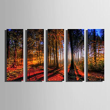 Aufgespannte Leinwandrucke Leinwand-Set Landschaft Fünf Panele Horizontal Druck Wand Dekoration Haus Dekoration