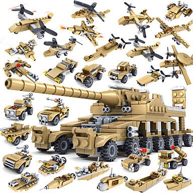 Klocki 544pcs Czołg Okret wojenny Samochód Cannon 16 in 1 Wojskowy Wojna Czołg Samolot Helikopter Dla chłopców Zabawki Prezent