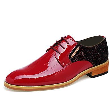 Homme Chaussures Cuir Eté Automne Confort Oxfords Noir Rouge