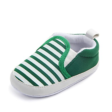 baratos Sapatos de Criança-Para Meninos Tecido Rasos Crianças (0-9m) Conforto / Primeiros Passos / Sapatos de Berço Elástico Azul Escuro / Verde / Khaki Primavera / Outono / Listrado