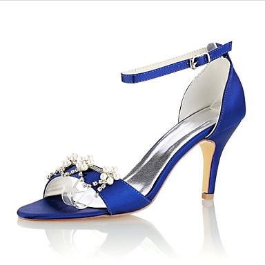2cb65fe439f4d Women's Wedding Shoes Stiletto Heel Open Toe Crystal / Pearl Elastic Fabric  Basic Pump Summer Dark Purple / Royal Blue / Burgundy / Party & Evening /  EU39