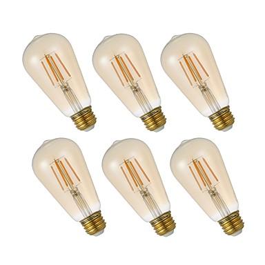 abordables Ampoules électriques-GMY® 6pcs 4.5 W Ampoules à Filament LED 320 lm E26 ST19 4 Perles LED COB Intensité Réglable Lampe LED Décorative Blanc Chaud 110-130 V