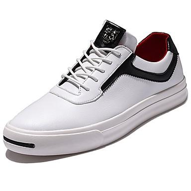 Męskie Buty PU Jesień Comfort Tenisówki na Casual Na wolnym powietrzu White Black