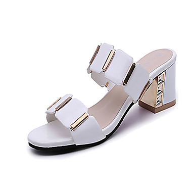 50b0bcb4aeedc Women s Shoes PU(Polyurethane) Summer Comfort Sandals Chunky Heel Open Toe  Plaid White   Black