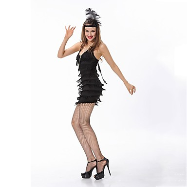 Velký Gatsby 20. léta Kostým Dámské Šaty   Kostým na Večírek   Flapper  Dress Černá b3dc9ccb5fe