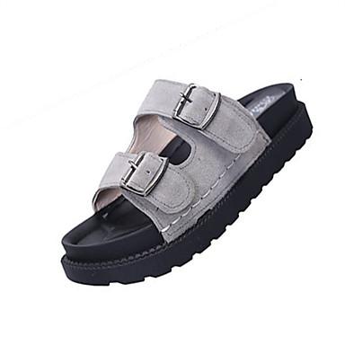 Women's Shoes PU Summer Light Soles Comfort Slippers & Flip-Flops Flat Heel Open Toe for Dress Black Gray Green