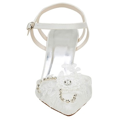 pointu Satin Chaussures 06438321 Eté mariage Cristal Basique Elastique Ivoire de Aiguille Femme Talon Bout Escarpin Chaussures B7T5qqx