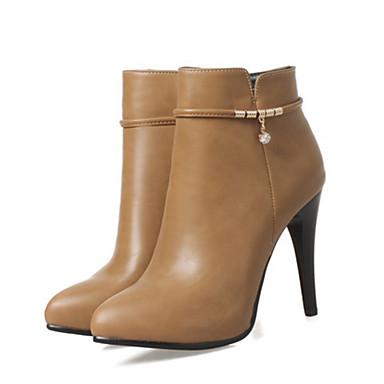 Mujer Zapatos Cuero Nobuck Primavera / Otoño Confort / Innovador Botas Tacón Stiletto Dedo Puntiagudo Botines / Hasta el Tobillo Negro / 5SZ7q