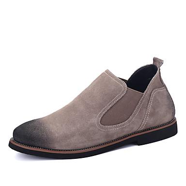 Hombre Zapatos Cuero Nobuck / PU Primavera / Otoño Confort / Botas de Moda Botas Botines / Hasta el Tobillo Gris / Azul / Caqui ZYlpM