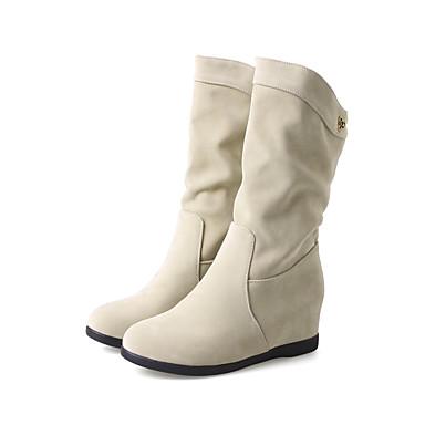 Bottes Hiver Bottes à Femme Mode Bottine rond Laine Chaussures Automne Bout Botte synthétique Demi mollet Mi Bottes Bas Talon 06439776 la WzXBSpBq