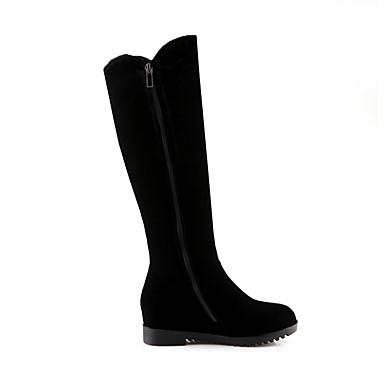 Chaussures pour Bout Velours rond à Bottes Mode Hiver Talon Plat Cuissarde Laine Bottes Bottes Automne la Strass 06460597 Femme synthétique fgdUOqUw