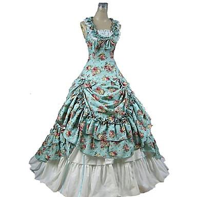 Gotycka Lolita Wiktoriańskie Damskie Sukienka Spódnica Stroje Cosplay Niebieski Kwiaty Krótki kimonowy Bez rękawów Do kostki Kostiumy