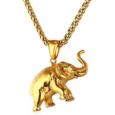 billige Mote Halskjede-Herre Dame Anheng Halskjede franco kjede Elefant Dyr Hip Hop Rustfritt Stål Gull Sølv Halskjeder Smykker 1 Til Daglig Seremoni