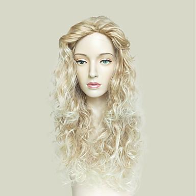 פאות סינתטיות Kinky Curly בלונד תספורת שכבות שיער סינטטי שיער טבעי בלונד פאה ארוך ללא מכסה