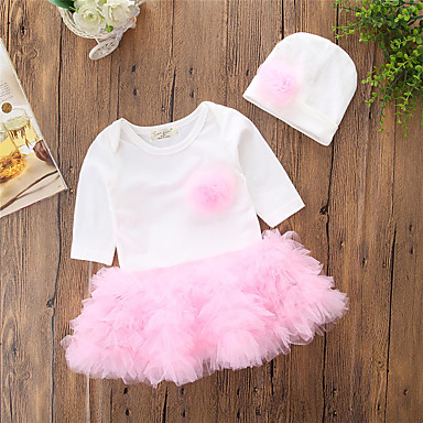 e082579cd Baby Girls' Casual / Active Daily / Going out Solid Colored / Color Block  Long Sleeve Regular Regular Cotton / Polyester Dress Pink / Cute / Toddler