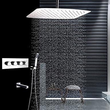 עכשווי רכוב תיקרה מקלחת גשם שפורפרת יד כלולה תרמוסטטי שסתום קרמי ארבע ידיות ארבעה חורים פלדת אל חלד, ברז למקלחת