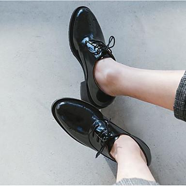 בגדי ריקוד נשים PU אביב / סתיו נוחות נעלי אוקספורד עקב עבה בוהן מרובעת שחור