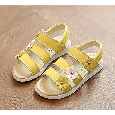 baratos Sapatos de Criança-Para Meninas Courino Sandálias Little Kids (4-7 anos) / Big Kids (7 anos +) Conforto Branco / Amarelo / Rosa claro Verão