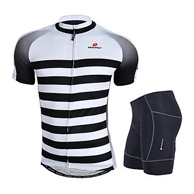 Nuckily Homens Manga Curta Camisa com Shorts para Ciclismo - Cinzento Geométrico Moto Conjuntos de Roupas, Design Anatômico, Respirável,