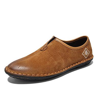 בגדי ריקוד גברים עור נאפה Leather / עור אביב / סתיו נוחות נעליים ללא שרוכים אפור / חום / ירוק צבא